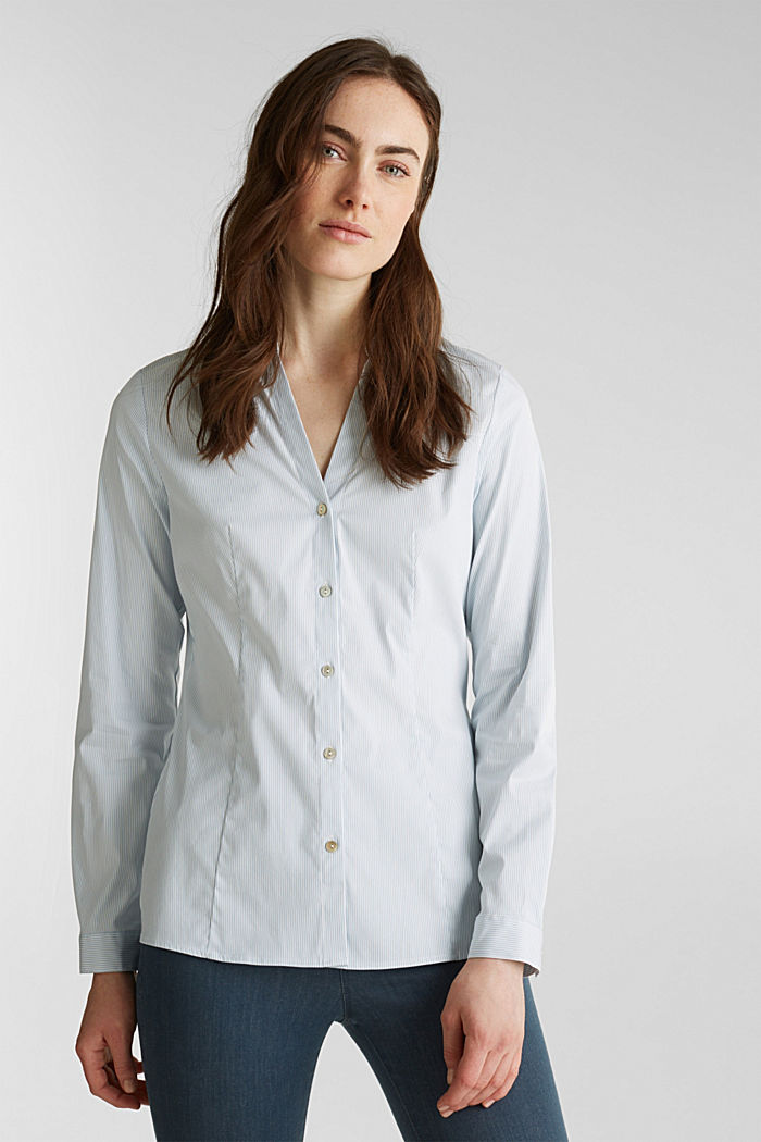 Stretch blouse with an open collar, LIGHT BLUE, detail image number 6