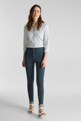 Stretch blouse with an open collar, LIGHT BLUE, detail