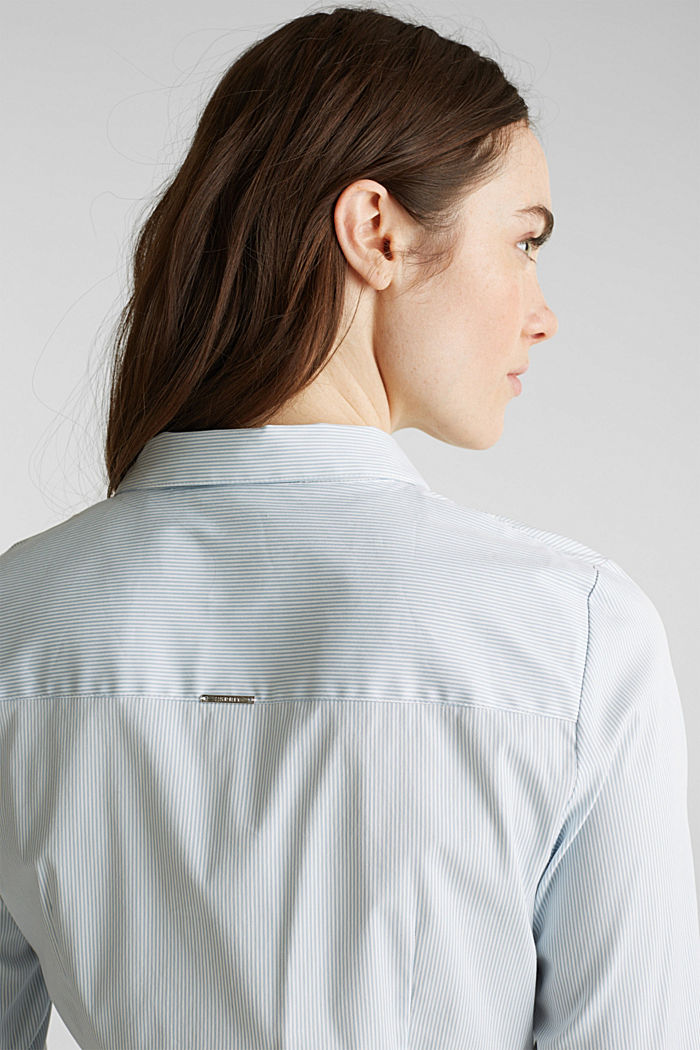 Stretch blouse with an open collar, LIGHT BLUE, detail image number 5