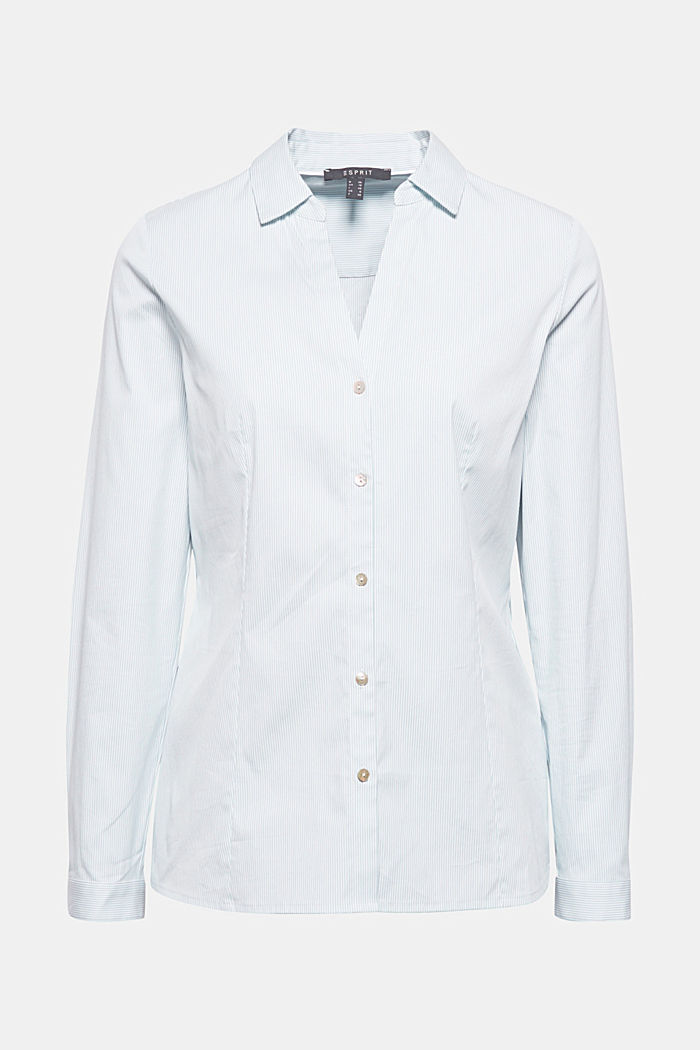 Stretch blouse with an open collar, LIGHT BLUE, detail image number 7