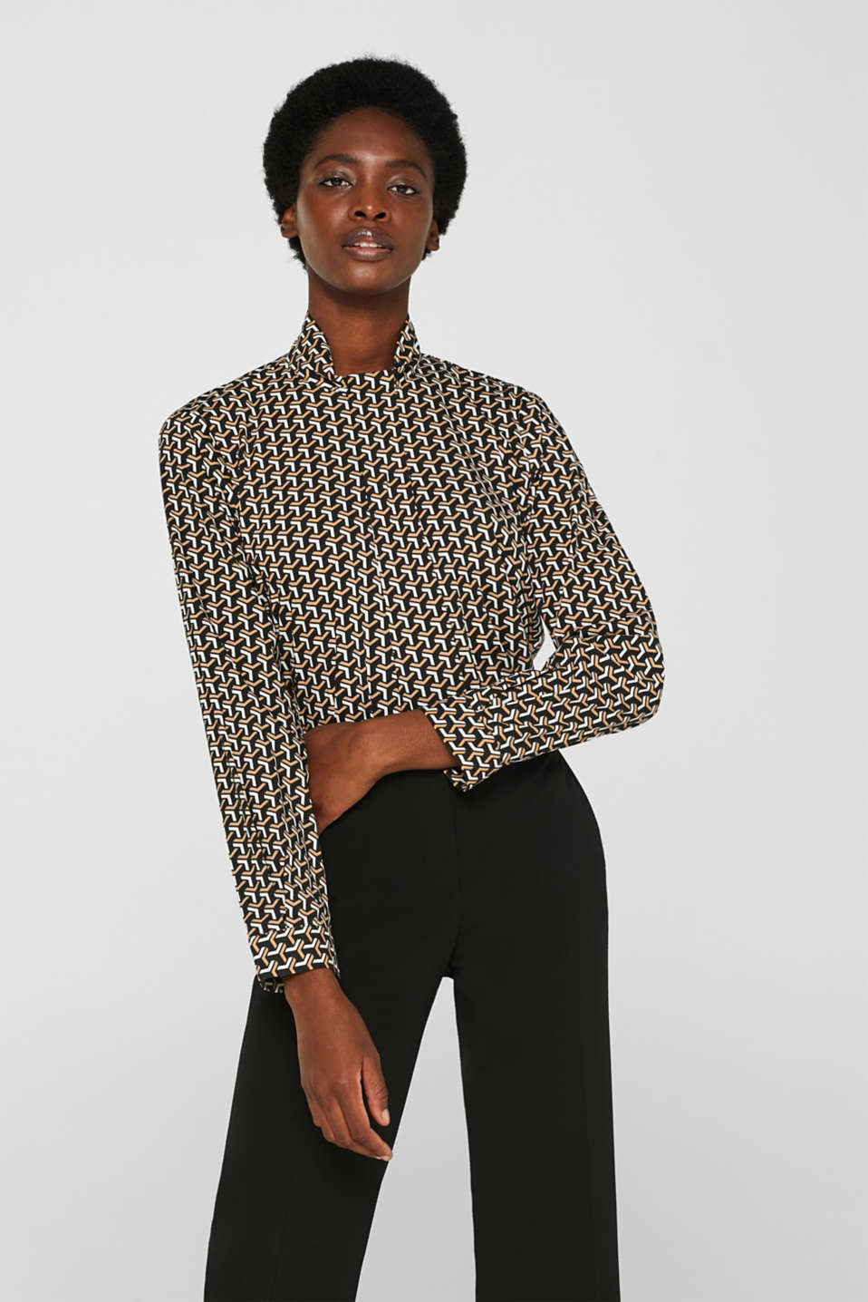 Esprit - High-neck blouse made of poplin