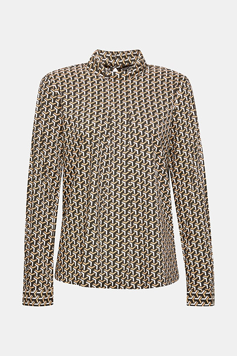 High-neck blouse made of poplin