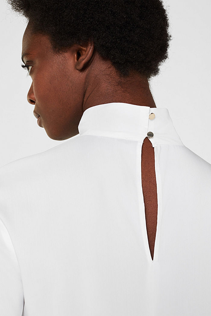 High-neck blouse made of poplin, WHITE, detail image number 2