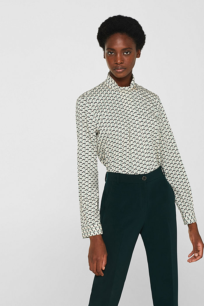 High-neck blouse made of poplin, OFF WHITE, detail image number 0