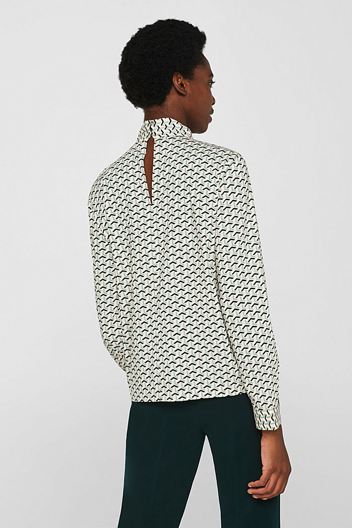 High-neck blouse made of poplin, OFF WHITE, detail image number 3