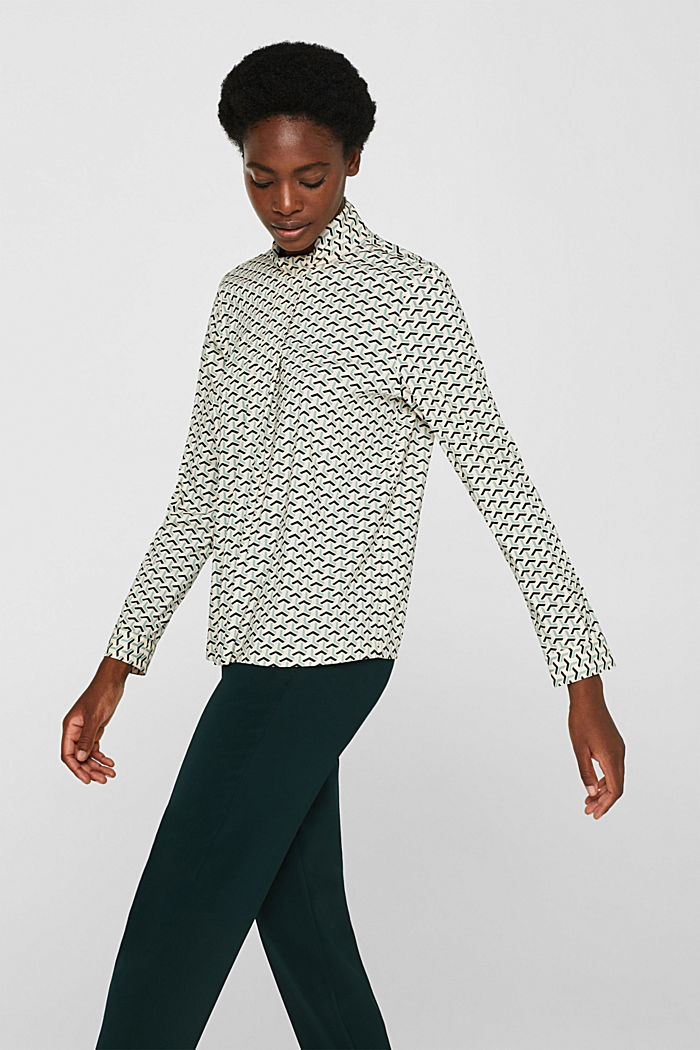 High-neck blouse made of poplin, OFF WHITE, detail image number 5