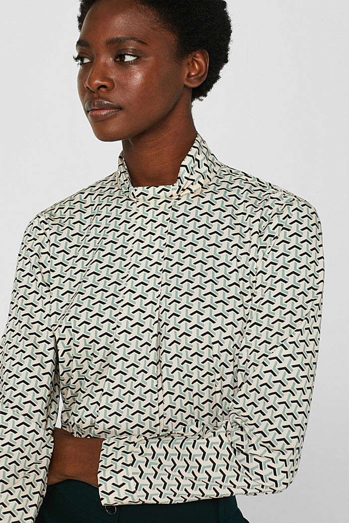 High-neck blouse made of poplin, OFF WHITE, detail image number 7