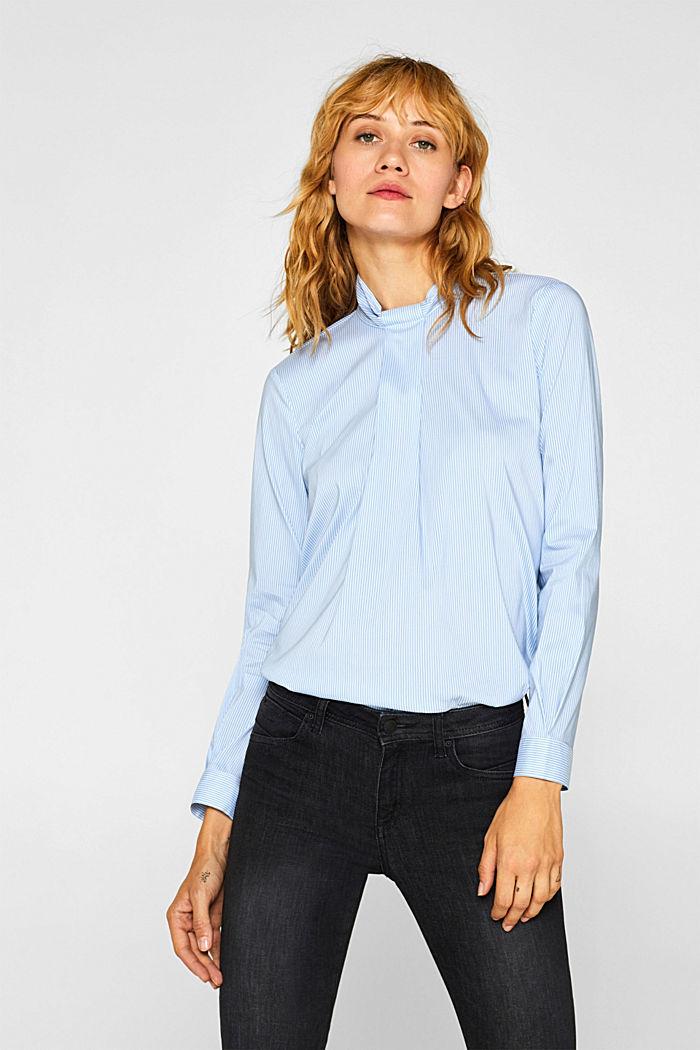 High-neck blouse made of poplin, LIGHT BLUE, detail image number 0
