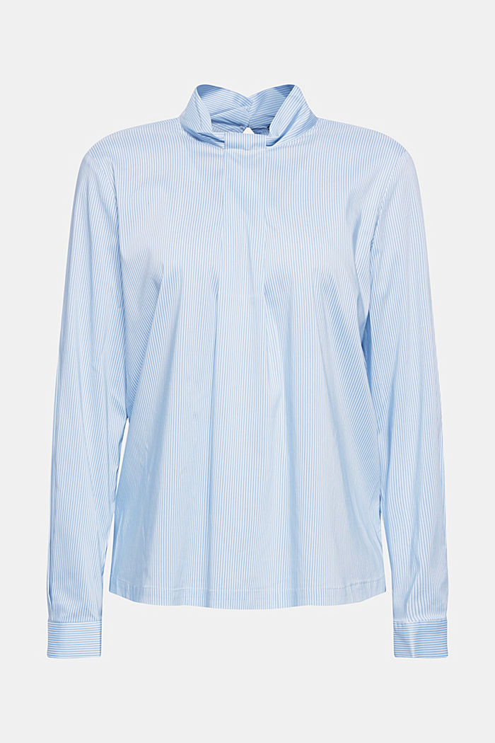 High-neck blouse made of poplin, LIGHT BLUE, detail image number 0