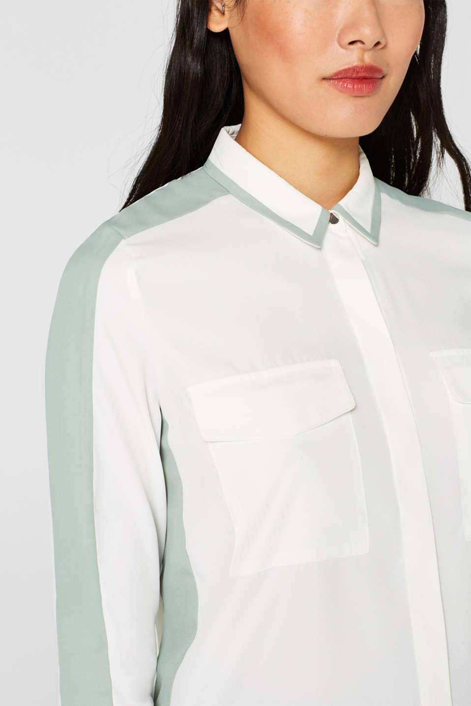 Shirt blouse with contrasting stripes, OFF WHITE, detail image number 2