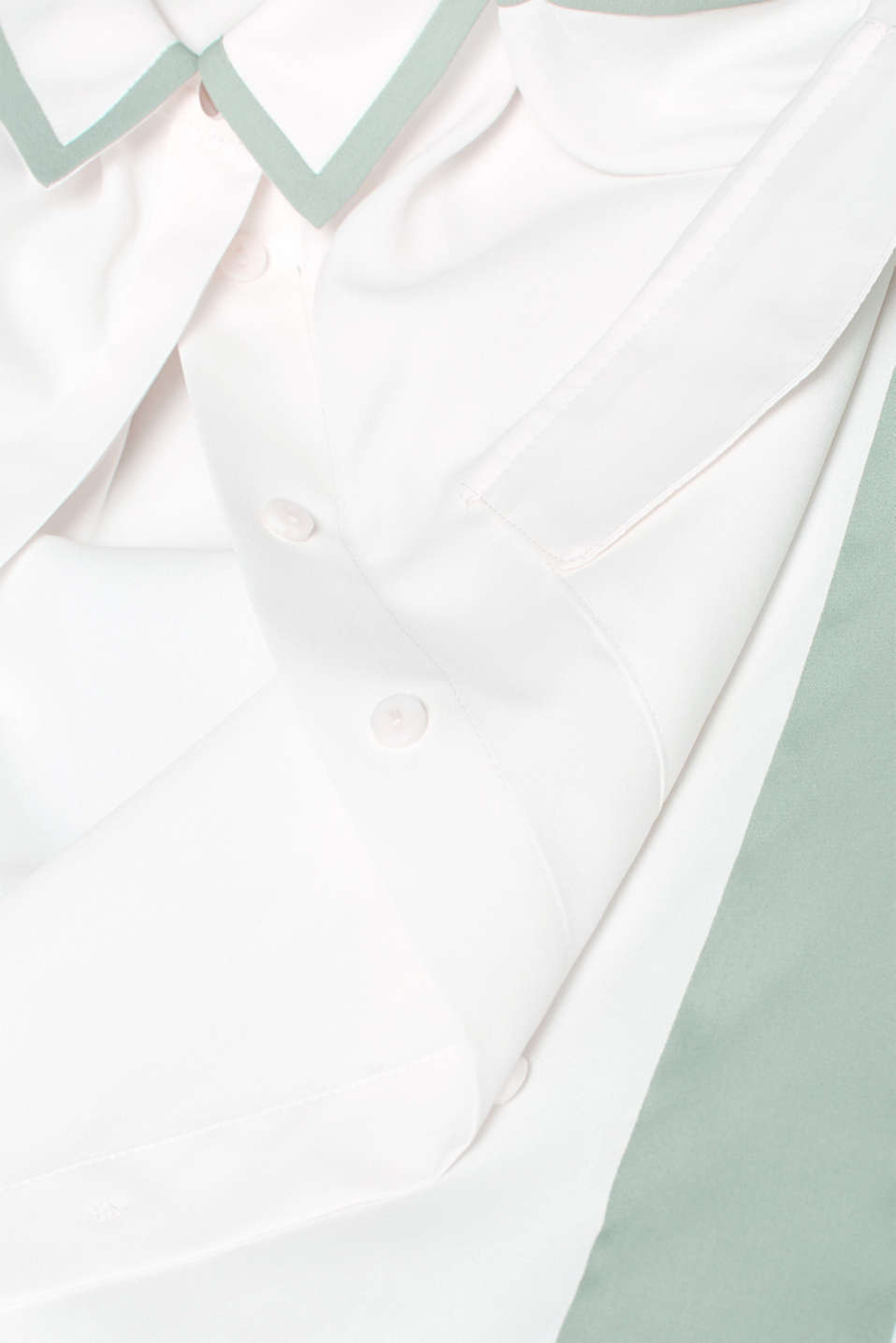 Shirt blouse with contrasting stripes, OFF WHITE, detail image number 4