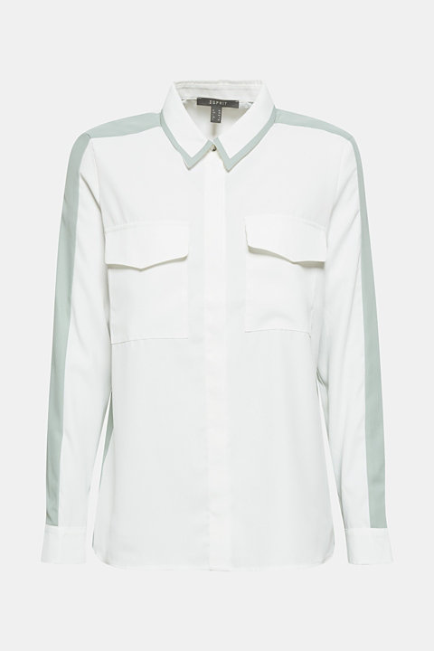 Shirt blouse with contrasting stripes