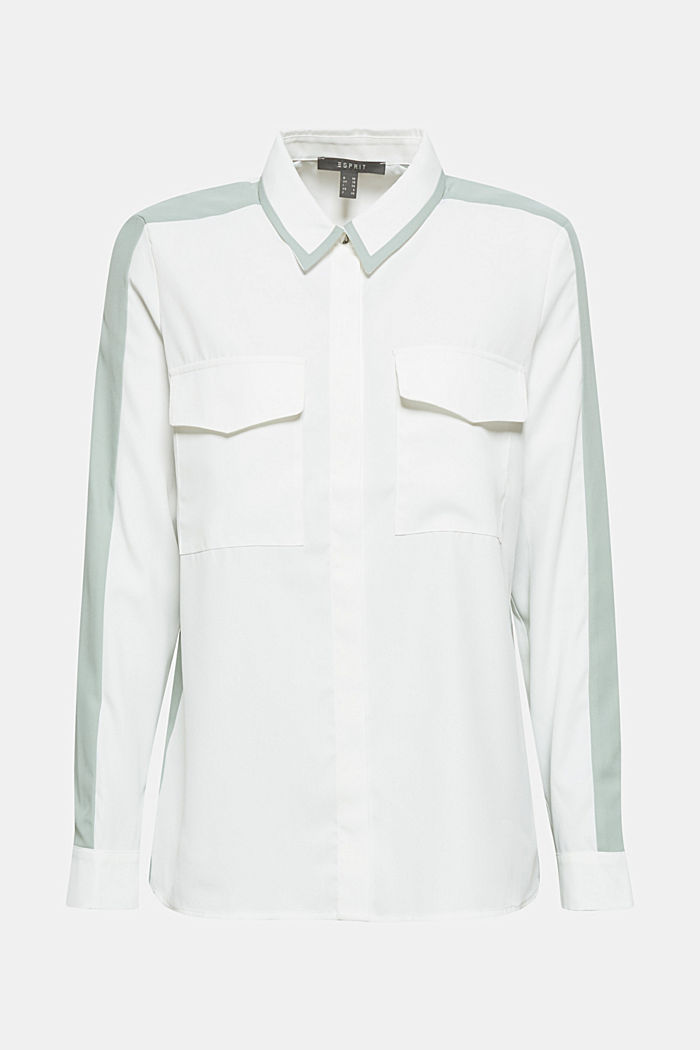 Shirt blouse with contrasting stripes, OFF WHITE, detail image number 0