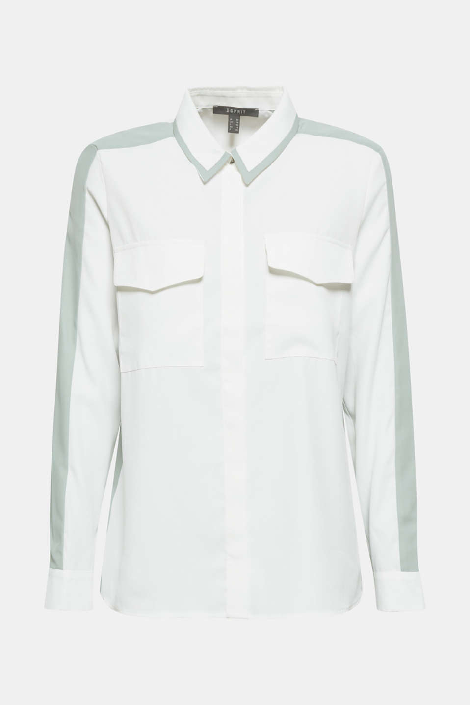 Shirt blouse with contrasting stripes, OFF WHITE, detail image number 6