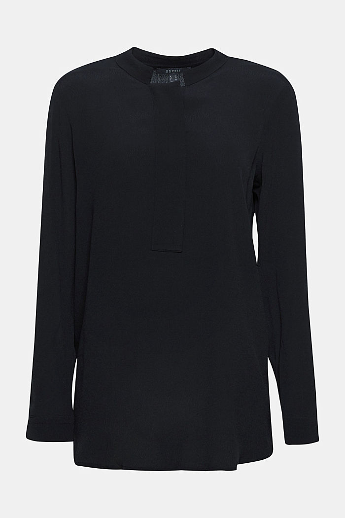 Crêpe blouse with a stand-up collar, BLACK, detail image number 0
