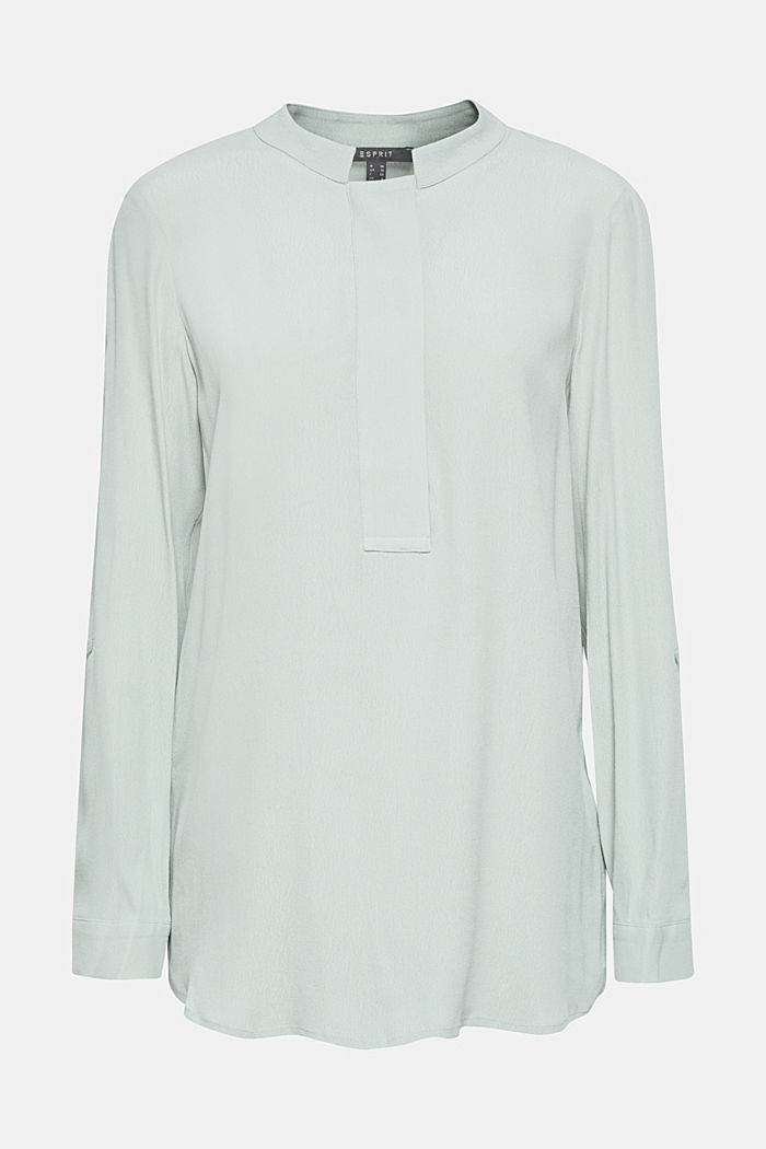 Crêpe blouse with a stand-up collar, LIGHT AQUA GREEN, detail image number 0