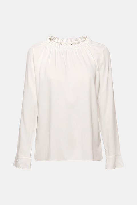 Jacquard blouse with a frilled neckline