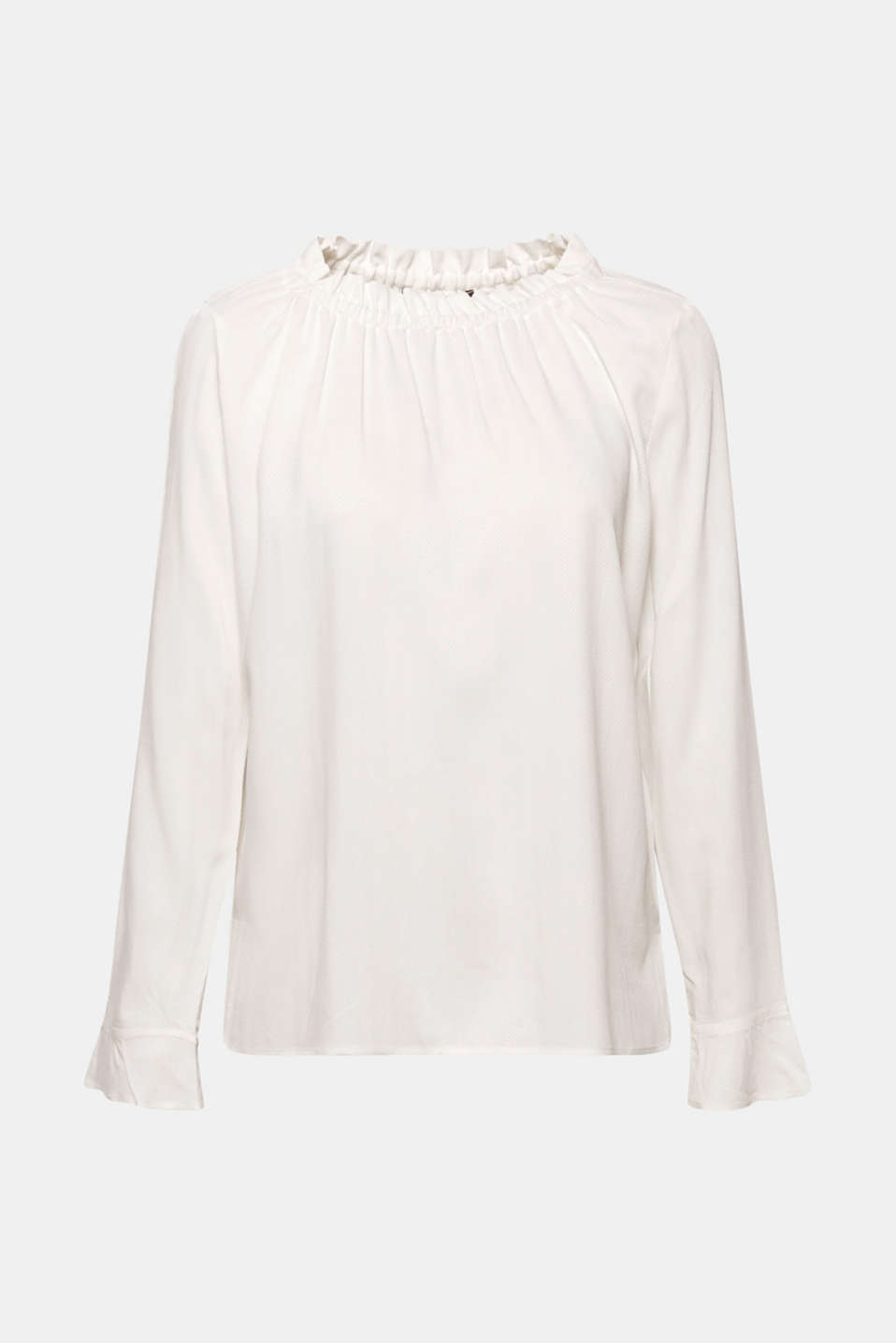 Jacquard blouse with a frilled neckline, OFF WHITE, detail image number 6