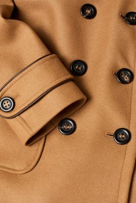 Made of blended wool: pea jacket with piping, CAMEL, detail