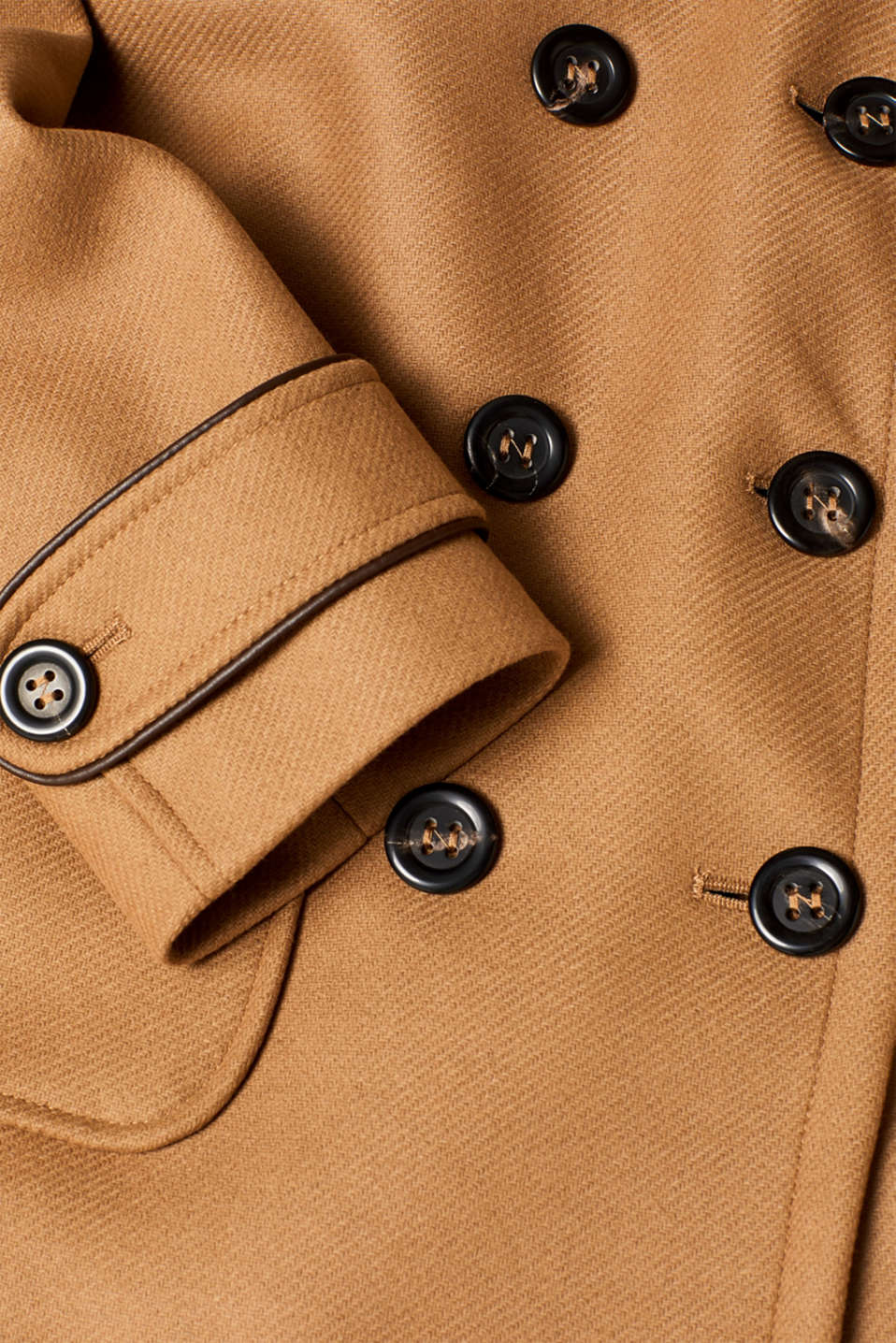 Made of blended wool: pea jacket with piping, CAMEL, detail image number 3