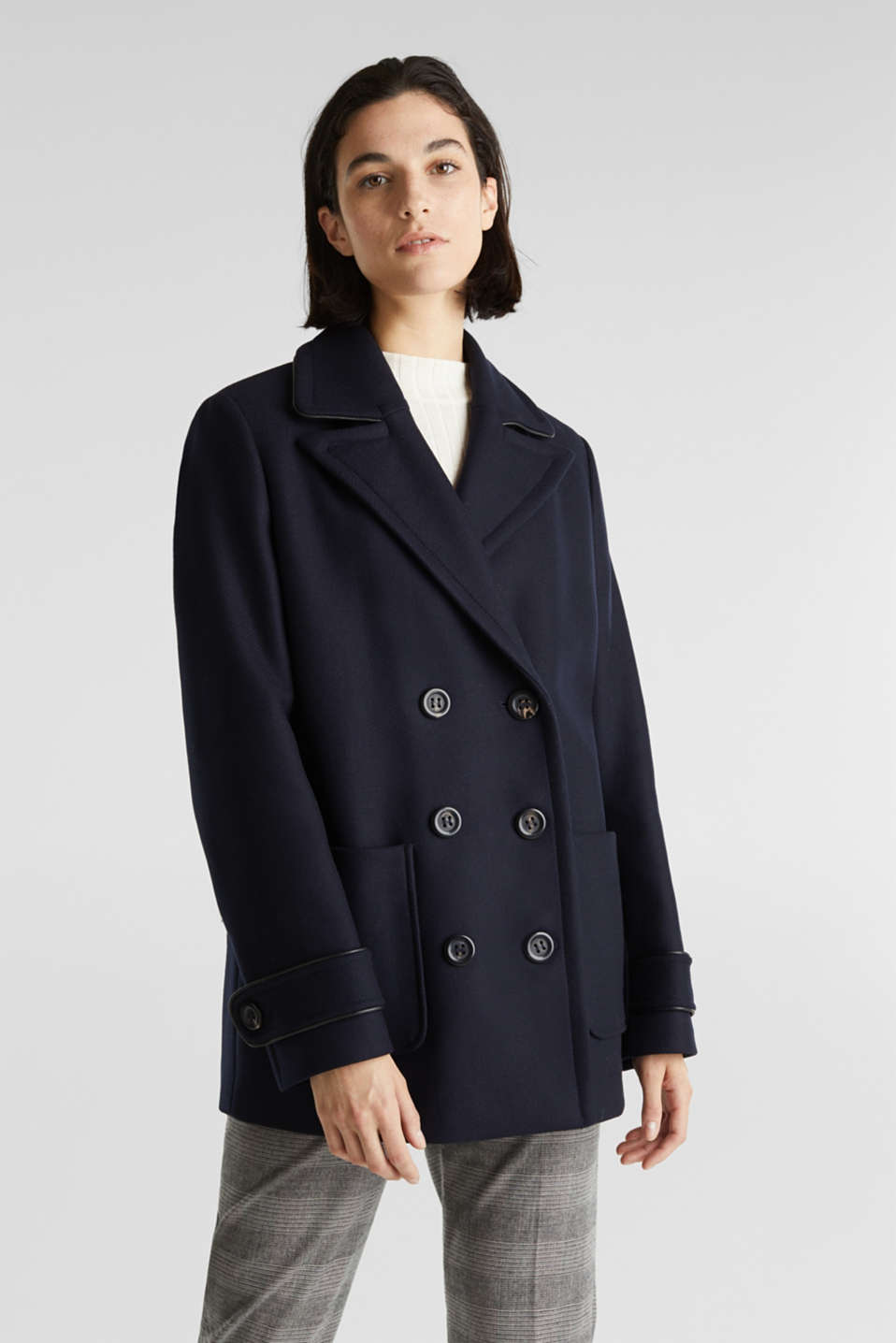 Esprit - Made of blended wool: pea jacket with piping