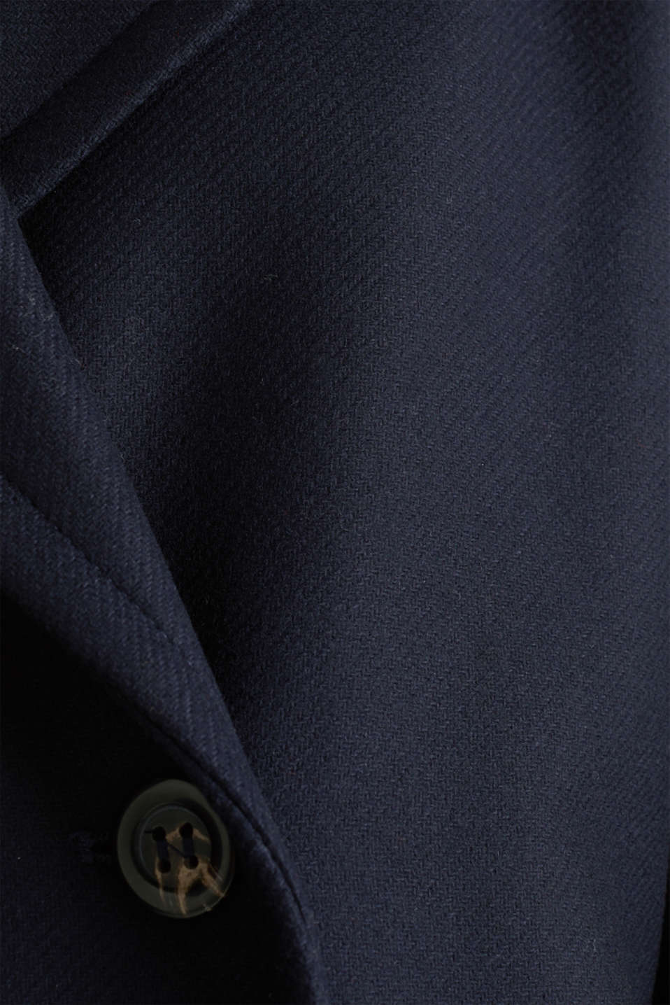 Made of blended wool: pea jacket with piping, NAVY, detail image number 3