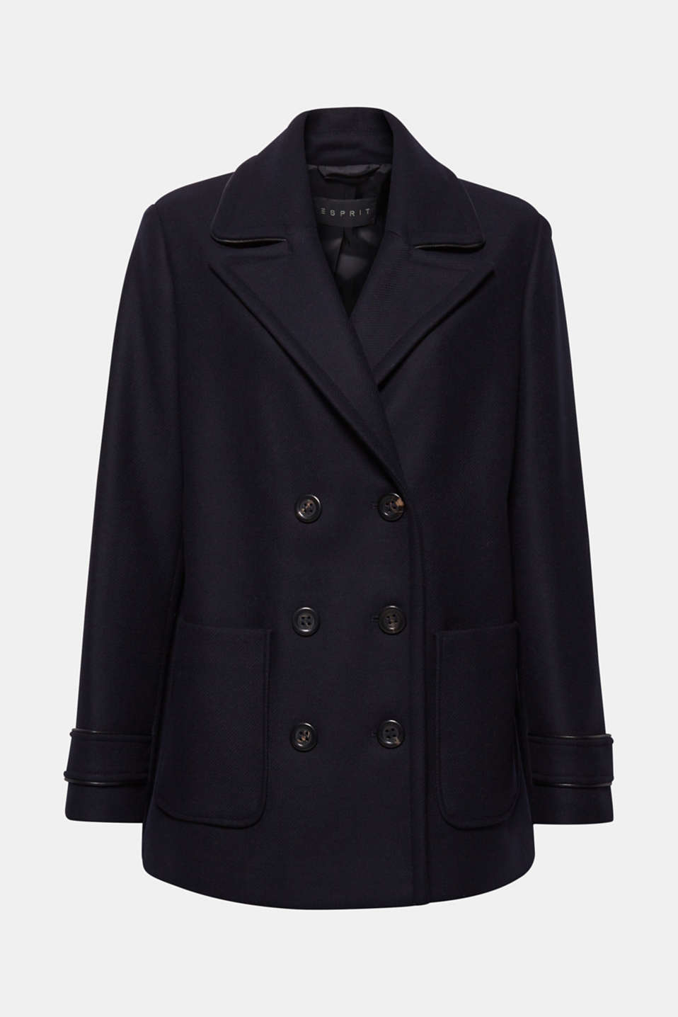 Made of blended wool: pea jacket with piping, NAVY, detail image number 6