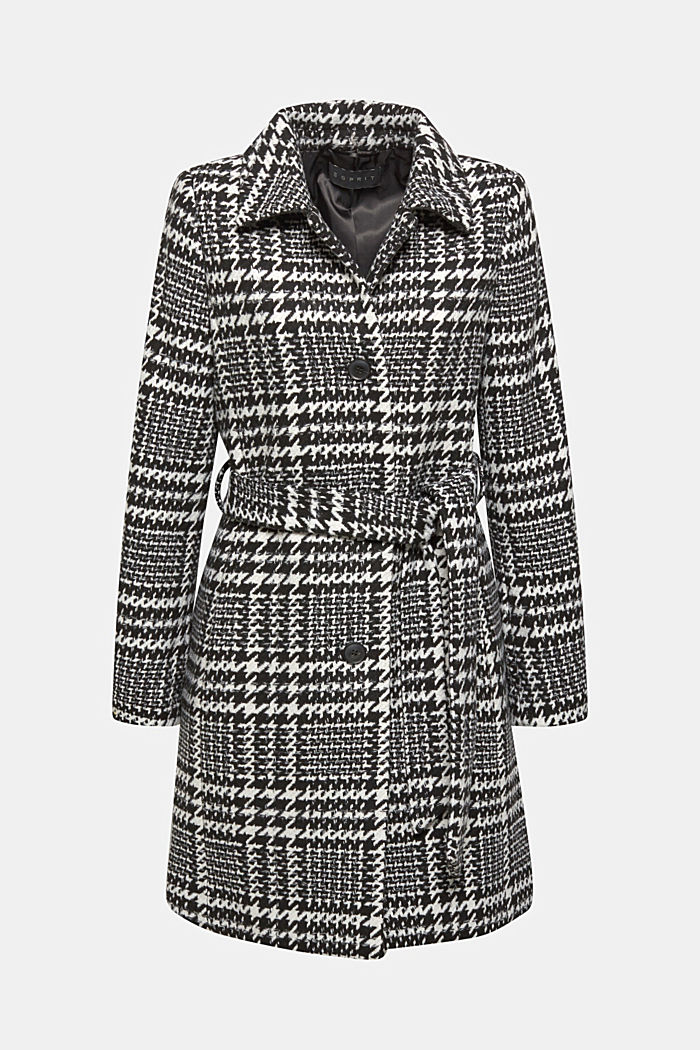With wool: Coat with a houndstooth check, BLACK, detail image number 0