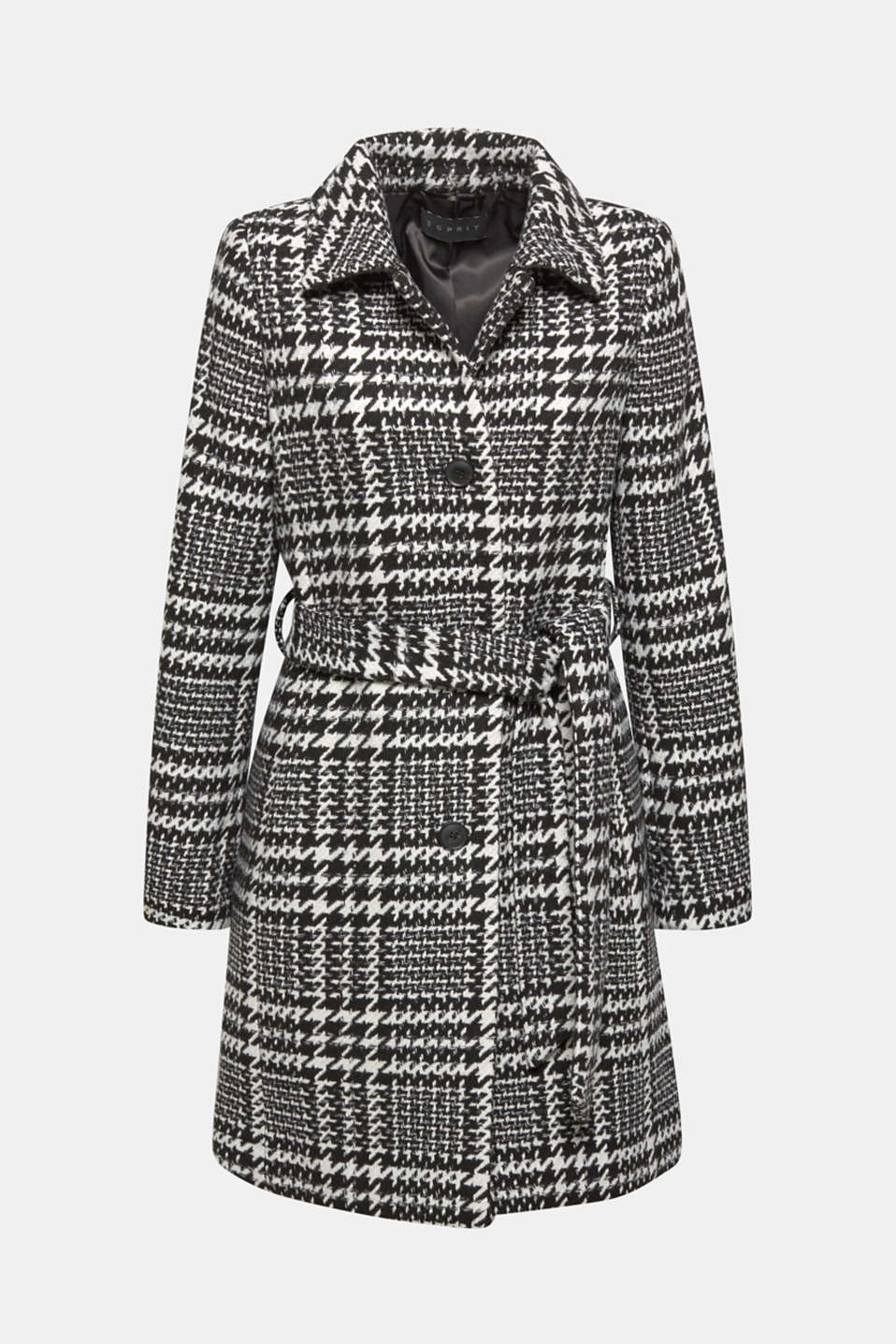 Esprit - With wool: Coat with a houndstooth check
