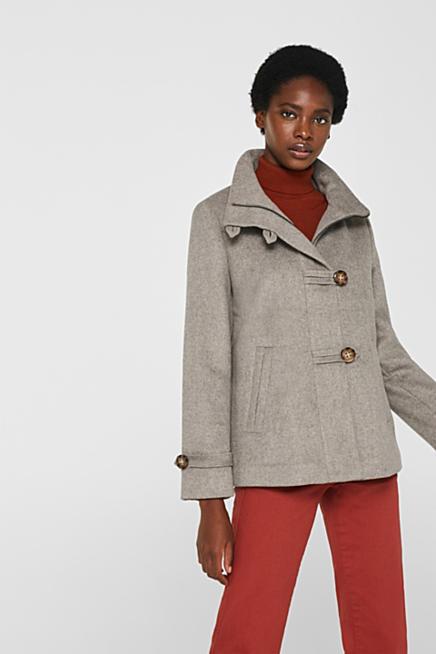 cc8d39043f360 À teneur en laine : la veste chinée à col montant et coupe trapèze