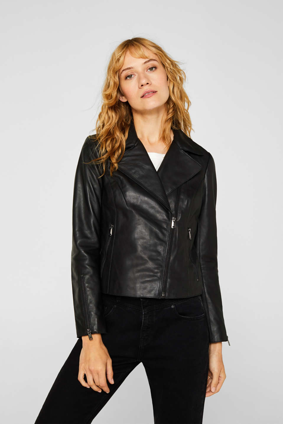 Esprit - Fitted biker jacket made of leather
