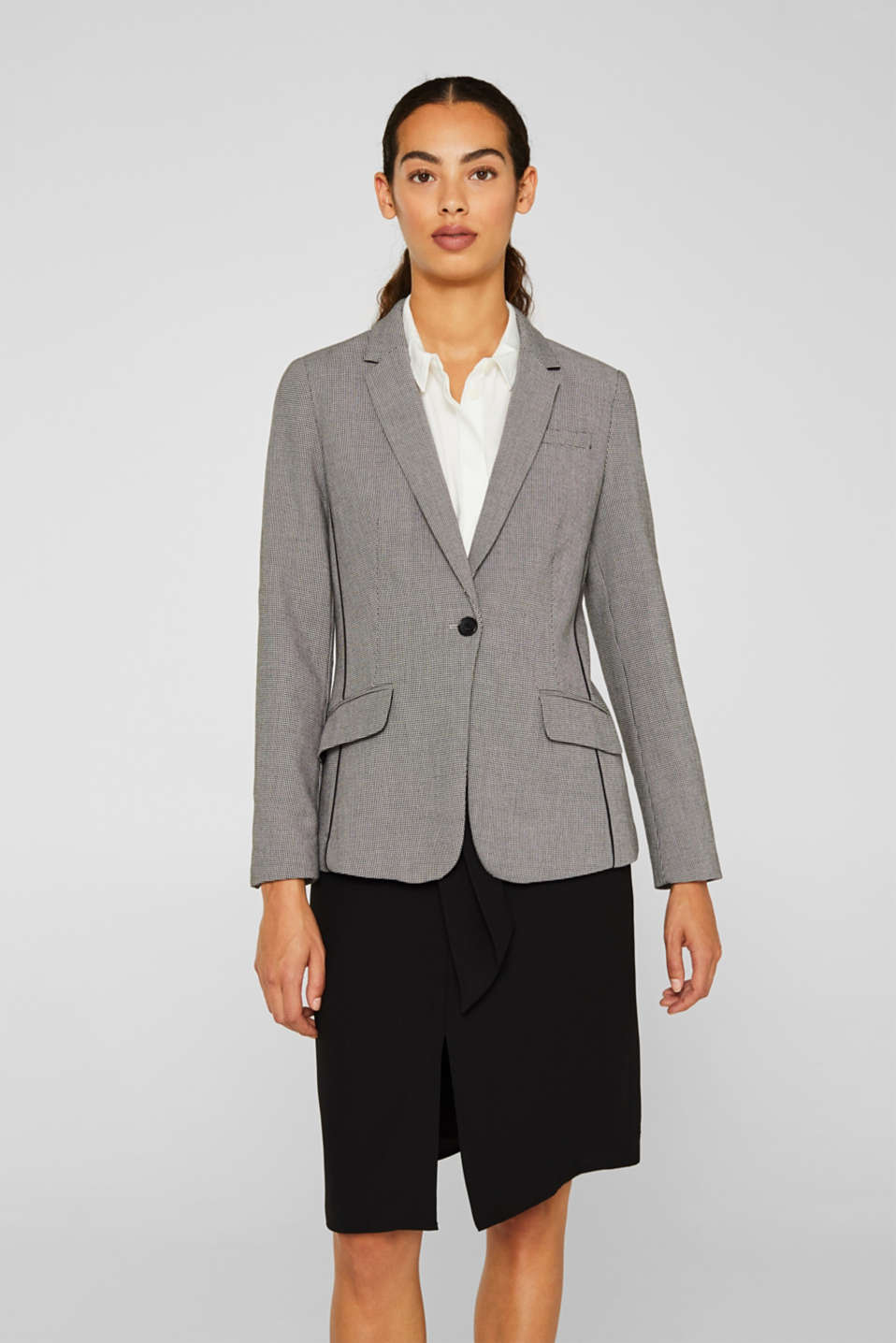 Esprit - Blazer with houndstooth pattern