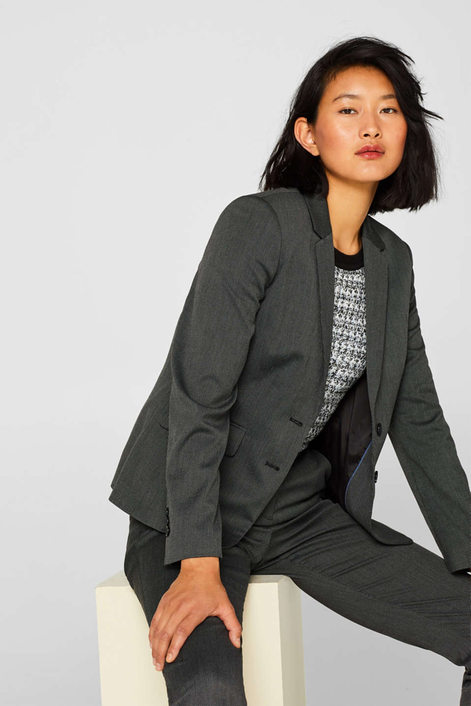 Esprit - SALT'N PEPPER Mix + Match Stretch-Blazer