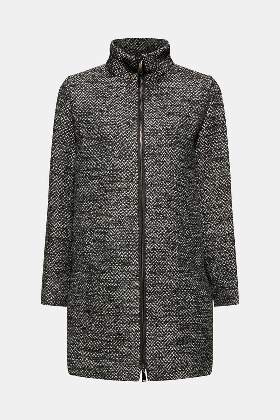 Made of blended wool: Coat with a stand-up collar, BLACK, detail image number 8