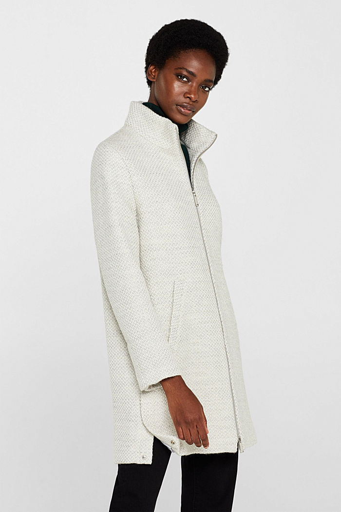 Made of blended wool: Textured coat, PASTEL GREY, overview
