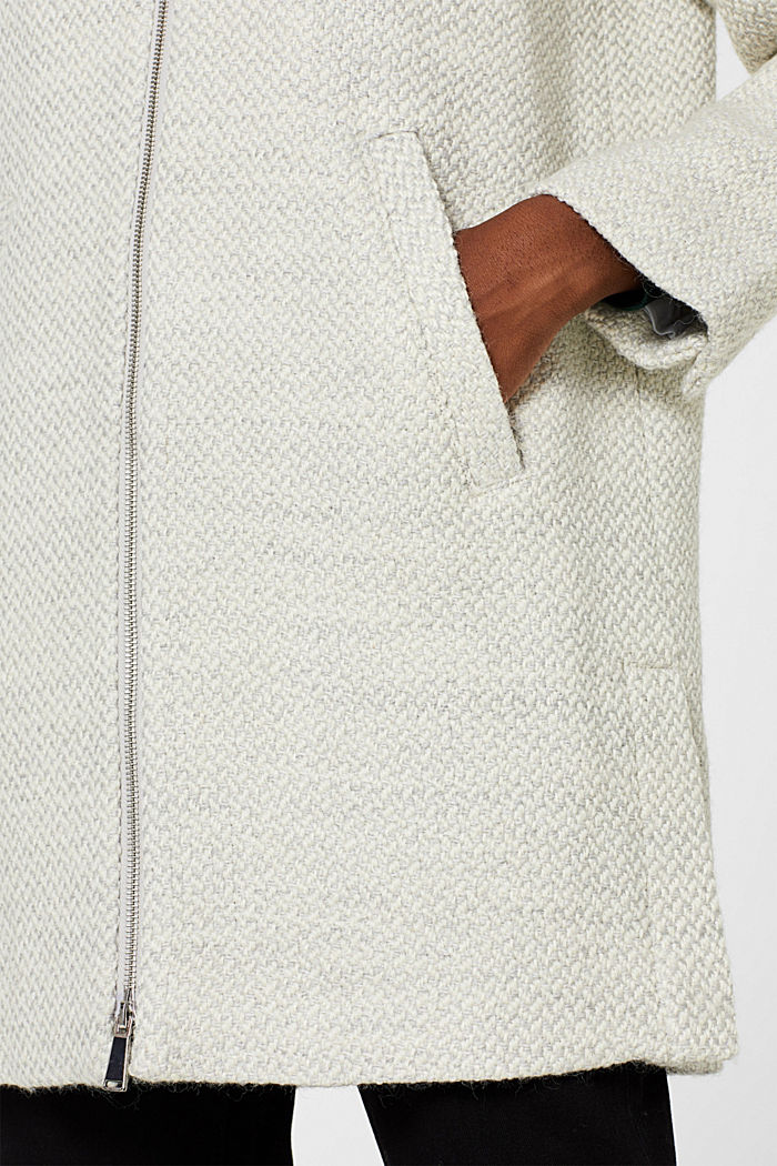 Made of blended wool: Textured coat, PASTEL GREY, detail image number 2