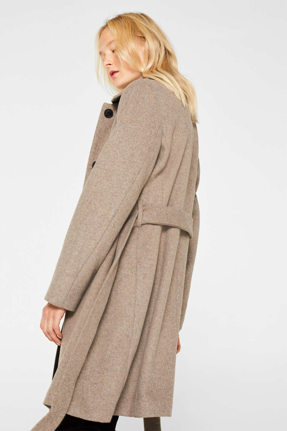 With wool: Coat with tie-around belt, LIGHT TAUPE 5, detail image number 3