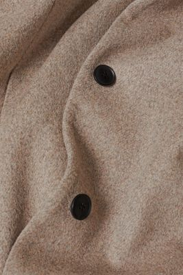 With wool: Coat with tie-around belt, LIGHT TAUPE 5, detail