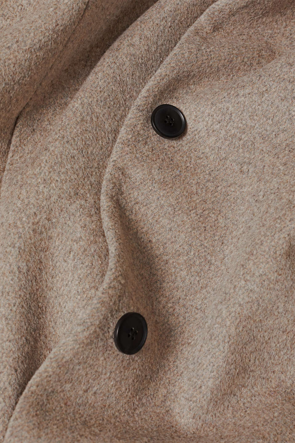 With wool: Coat with tie-around belt, LIGHT TAUPE 5, detail image number 4