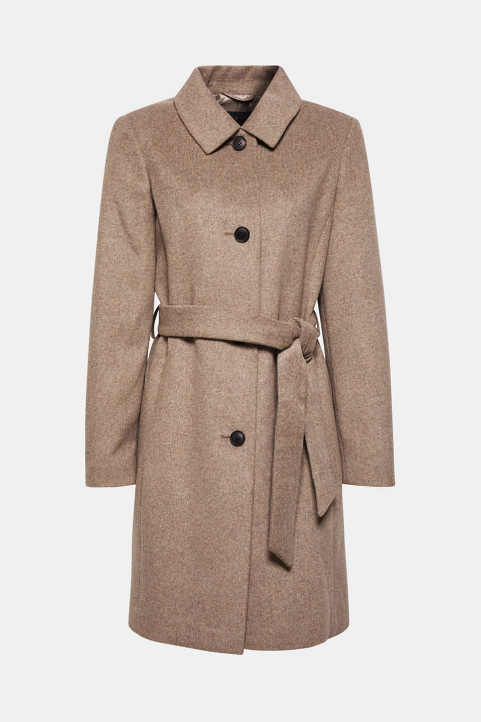 With wool: Coat with tie-around belt, LIGHT TAUPE 5, detail image number 8