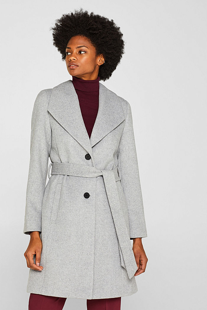 Wool blend: coat with a spade collar, LIGHT GREY, detail image number 0
