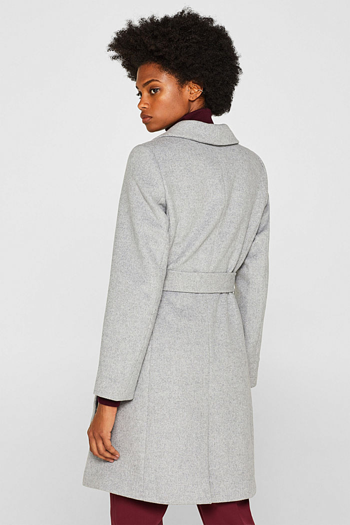 Wool blend: coat with a spade collar, LIGHT GREY, detail image number 3