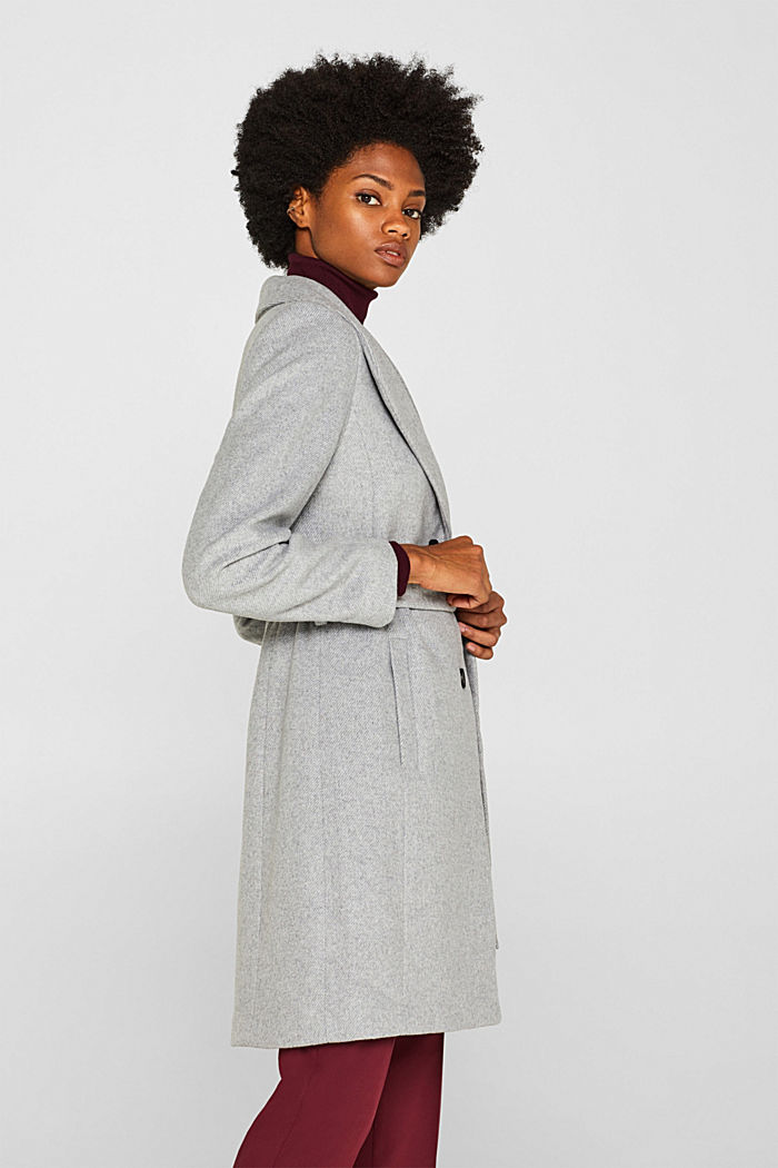 Wool blend: coat with a spade collar, LIGHT GREY, detail image number 5