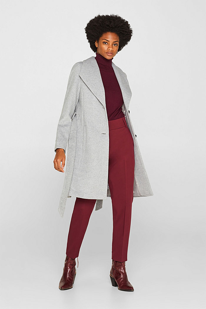 Wool blend: coat with a spade collar, LIGHT GREY, detail image number 1