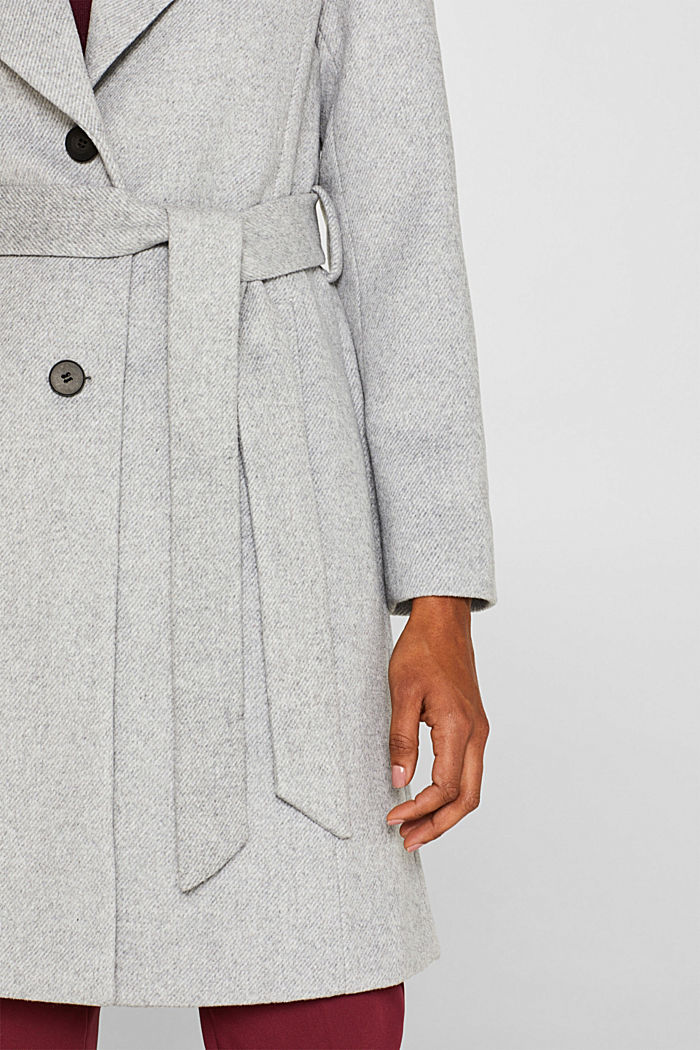 Wool blend: coat with a spade collar, LIGHT GREY, detail image number 2