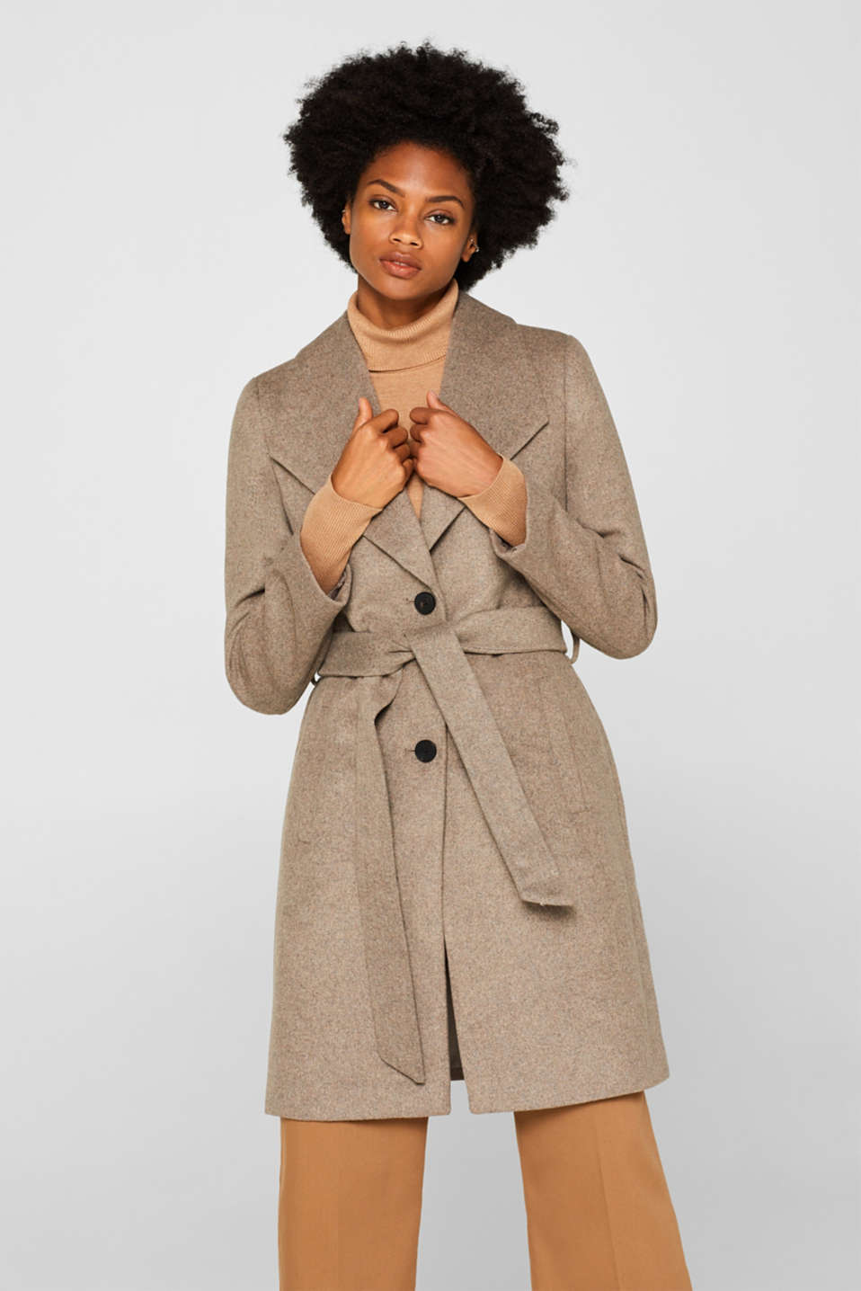 Wool blend: coat with a spade collar, LIGHT TAUPE 5, detail image number 0