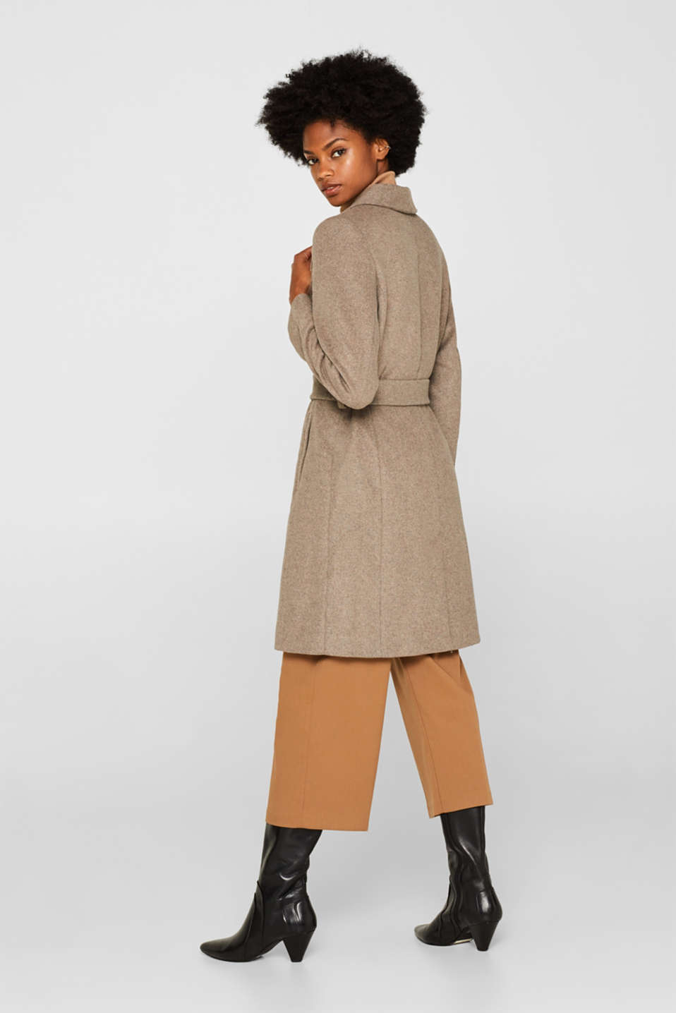 Wool blend: coat with a spade collar, LIGHT TAUPE 5, detail image number 3
