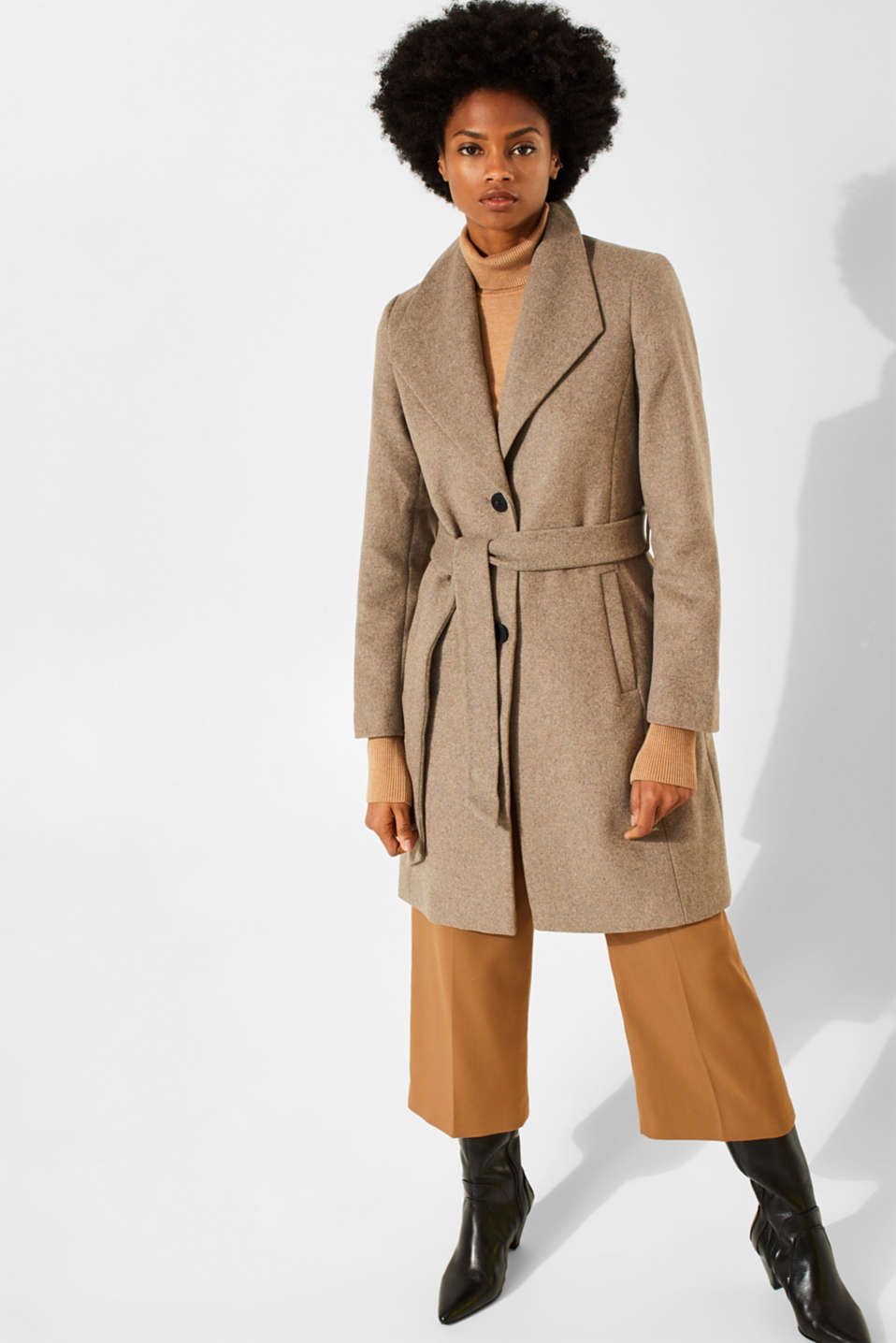 Wool blend: coat with a spade collar, LIGHT TAUPE 5, detail image number 1