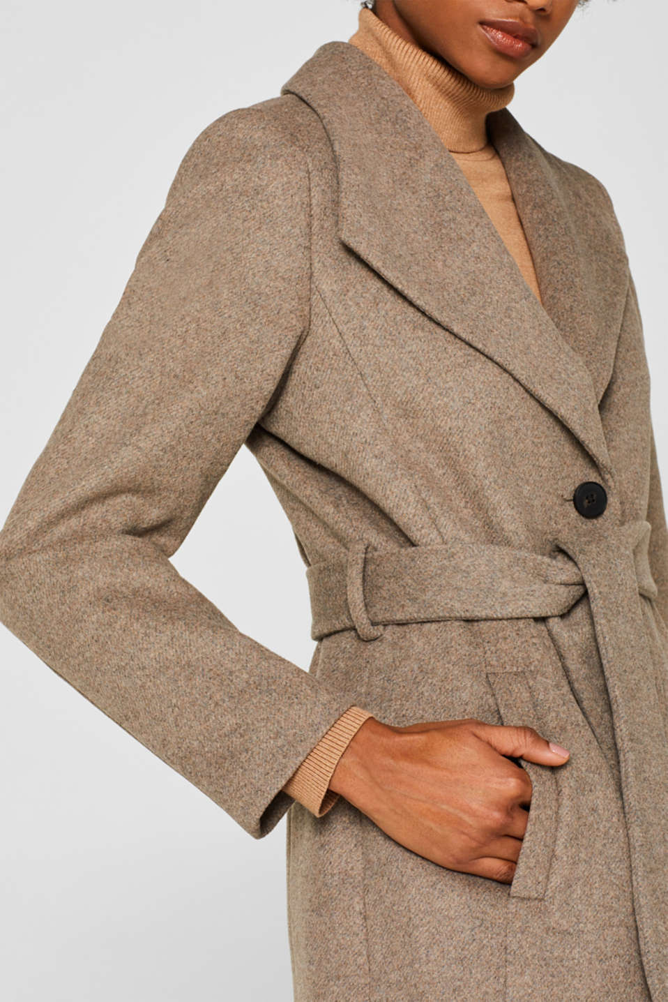 Wool blend: coat with a spade collar, LIGHT TAUPE 5, detail image number 2