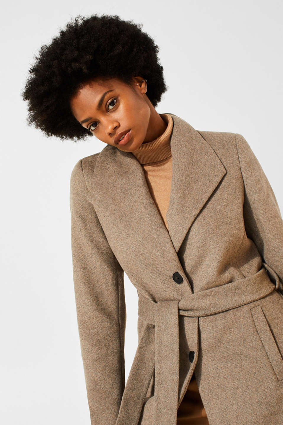 Wool blend: coat with a spade collar, LIGHT TAUPE 5, detail image number 6